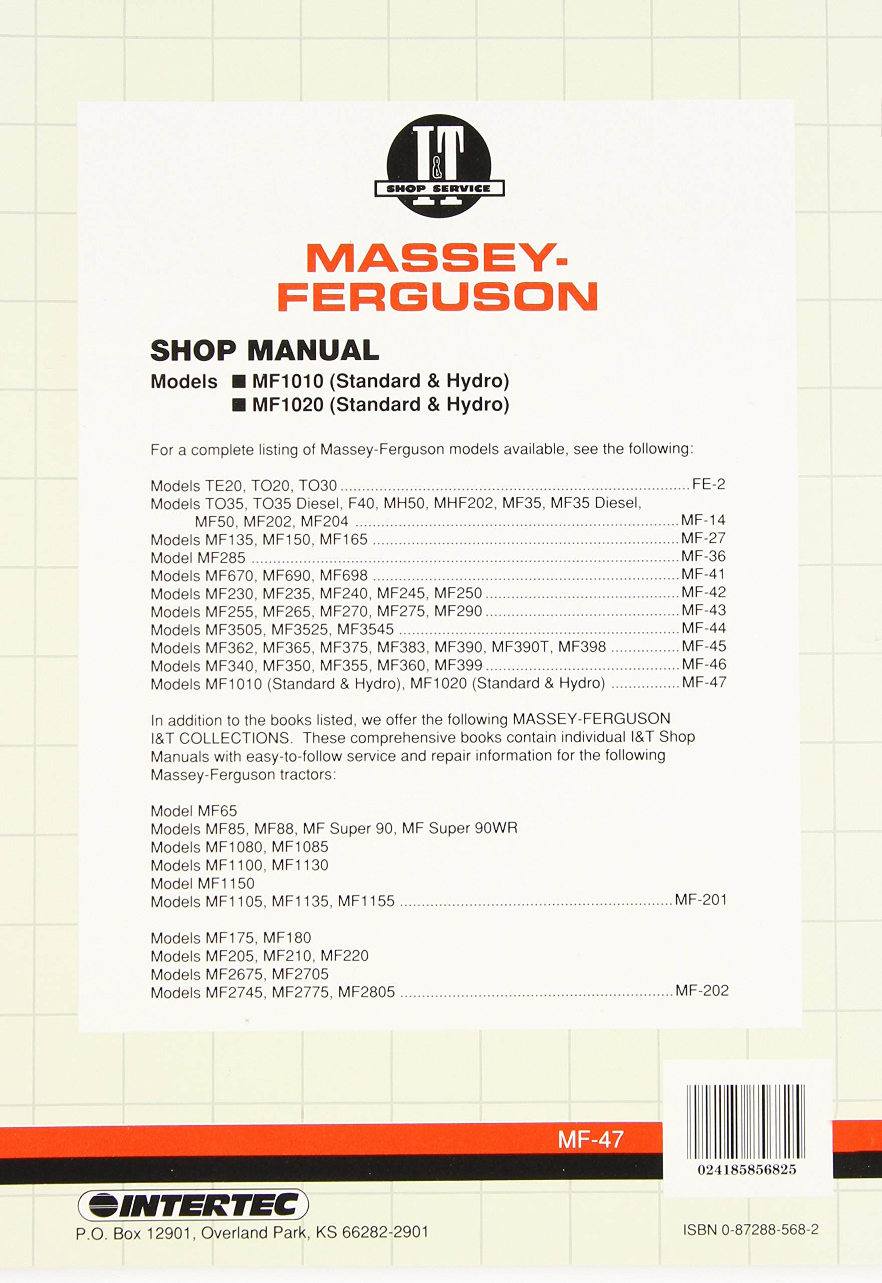 Massey Ferguson Shop Manual Models 1010 & 1020 (I & T Shop Service Manuals):  Penton Staff: 0024185856825: Amazon.com: Books