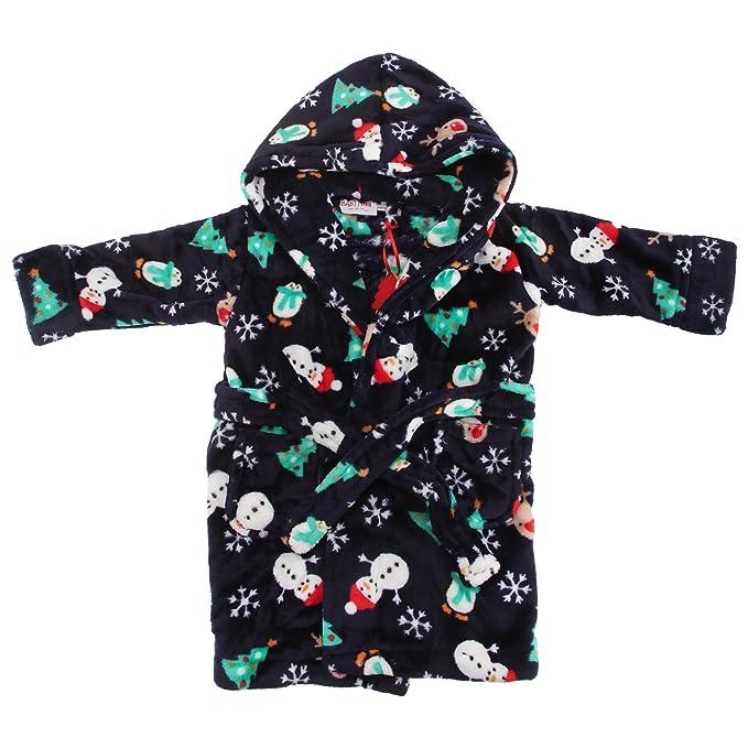 Bata de estar por casa con capucha y estampado navideño para niños (4-5