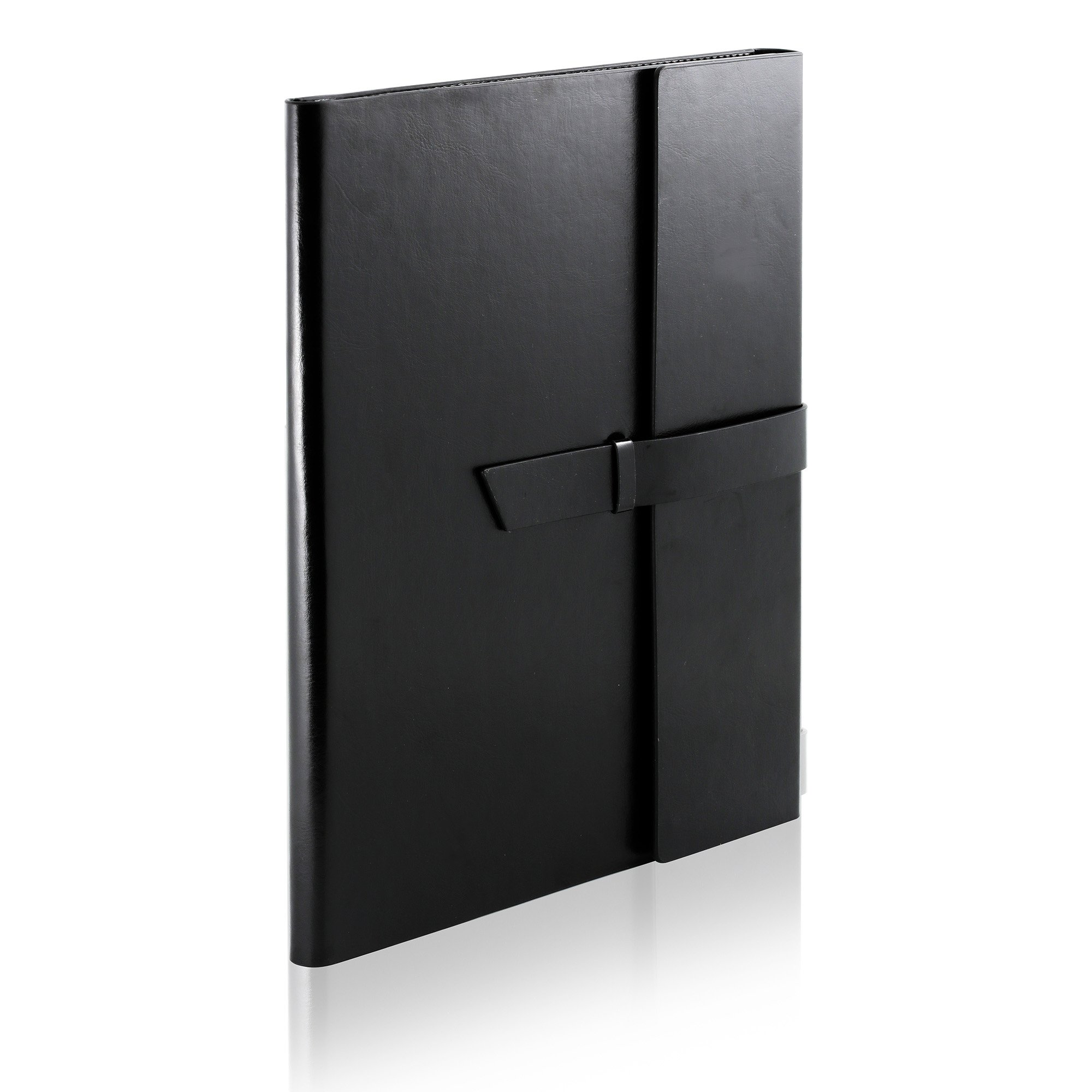 Gallaway Leather Padfolio Portfolio Folder - Perfect for your Interviews, Resumes, Presentations and Meetings and it fits Letter, Legal, A4 Notebooks and Notepads (Black)