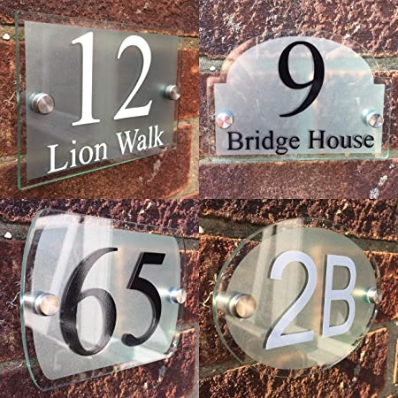 De-Sign Une Plaque Moderne Plaque de Maison Plaque Num/éro de Porte en Verre Acrylique Moderne Num/éro de Porte Sign
