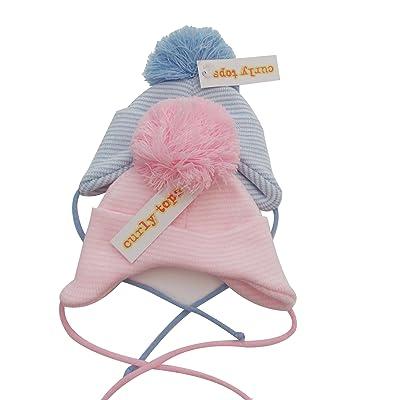 BNWT garçons ou filles hiver au chaud grande Pom Pom Bonnet en tricot 0–12et 12–18mois rose bleu 0-12 mois