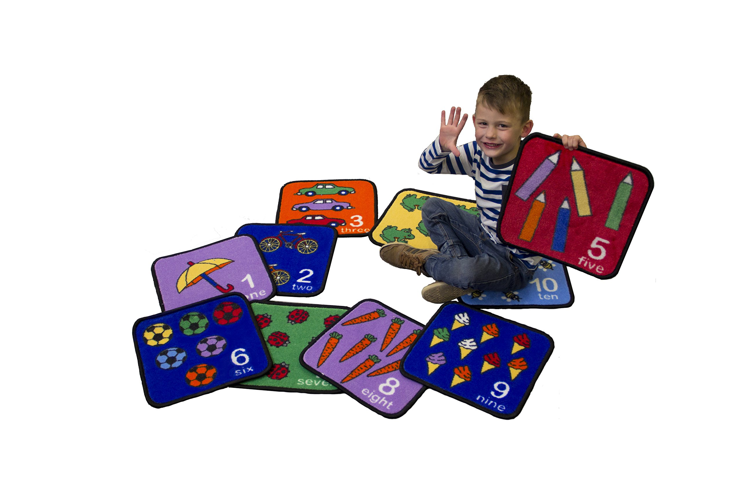 Children's Factory Learning Carpets Seating Squares for Counting Numbers and Images, One Color, one size