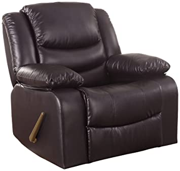 Amazon Com Bonded Leather Rocker Recliner Living Room Chair Brown