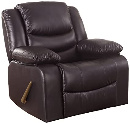 Superieur Bonded Leather Rocker Recliner Living Room Chair (Brown)