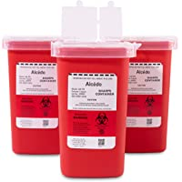 Alcedo Sharps Container for Home Use and Professional 1 Quart (3-Pack) | Biohazard Needle and Syringe Disposal | Small Portable Container for Travel