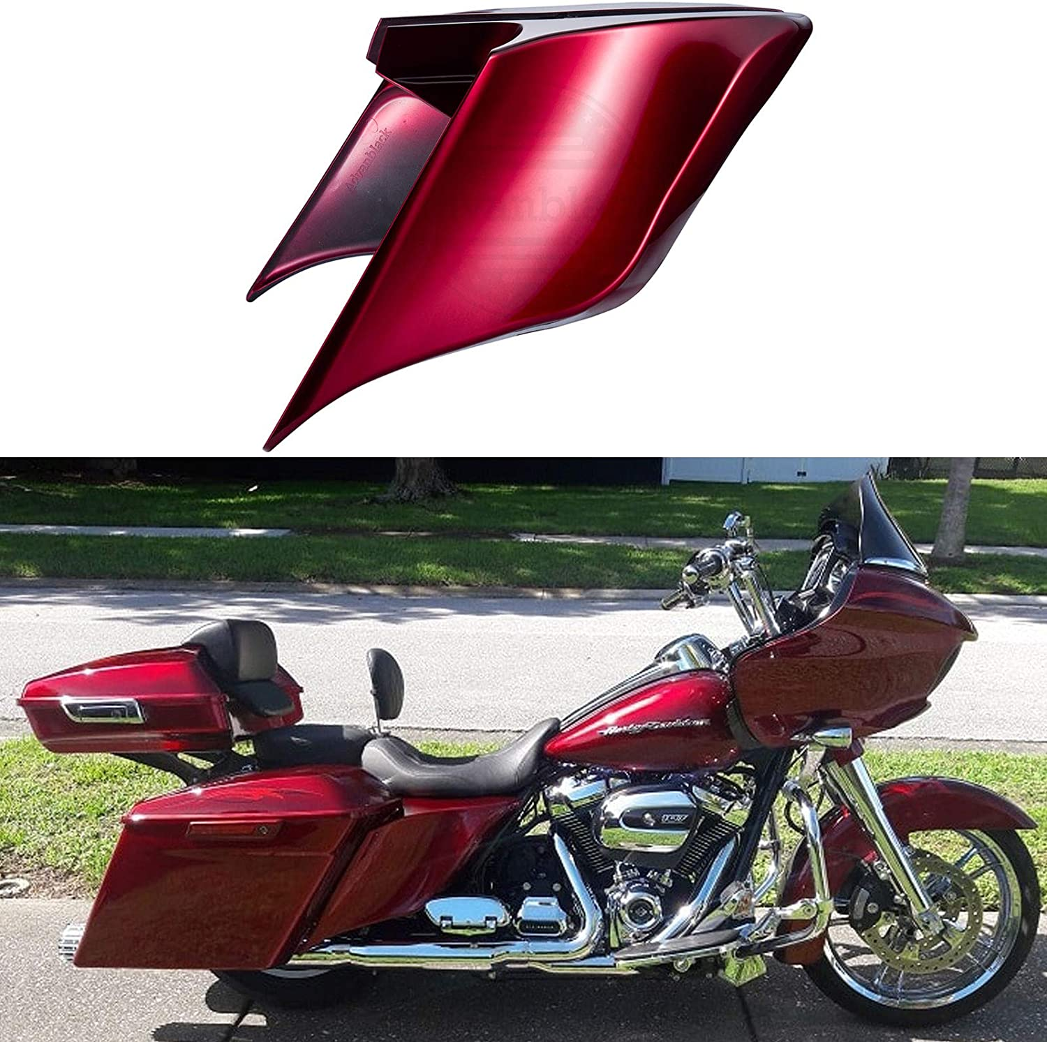 Advanblack Velocity Red Sunglo Extended Side Covers Stretched Side Panels Skirts Fit for 2014 Harley Touring Street Glide Road Glide Special Electra Glide Ultra Classic