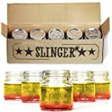THE SLINGER Shot Glasses Set - Mini Mason Jars with Lids (5 Pack)​