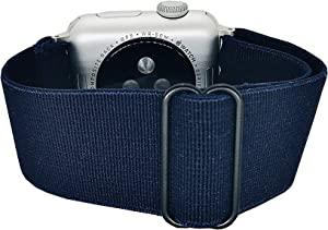 Generic Adjustable Stretchy Nylon Solo Sport Loop Bands for Apple Watch Band SE/6/5/4/3/2/1 (Navy Blue, 38/40mm)