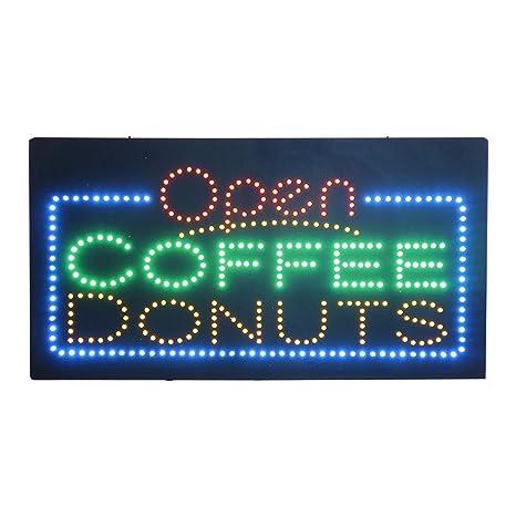 HIDLY - Cartel de luz LED con diseño de donas de café y café ...