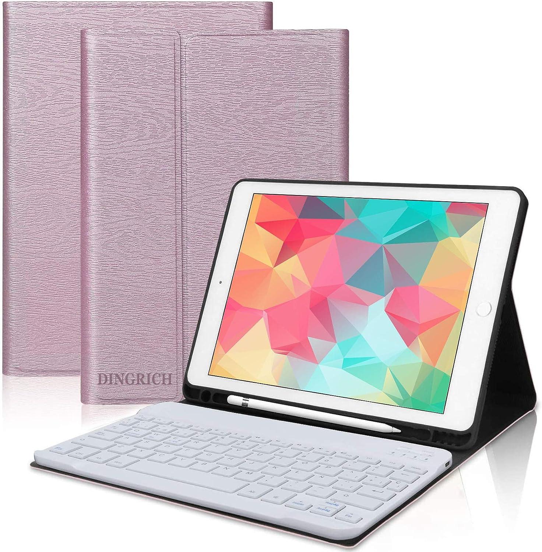 DINGRICH Teclado con Funda para iPad 9.7 2018 Español Ñ Teclado Bluetooth Inalámbrico Desmontable con Portalápiz para iPad Air 2/iPad Air/iPad 2018 ...
