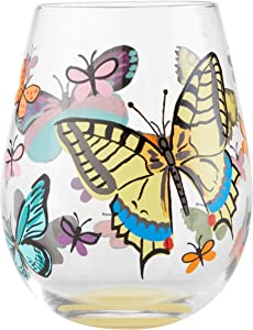Enesco Designs by Lolita Butterfly Hand-Painted Artisan Stemless Wine Glass, 20 Ounce, Multicolor