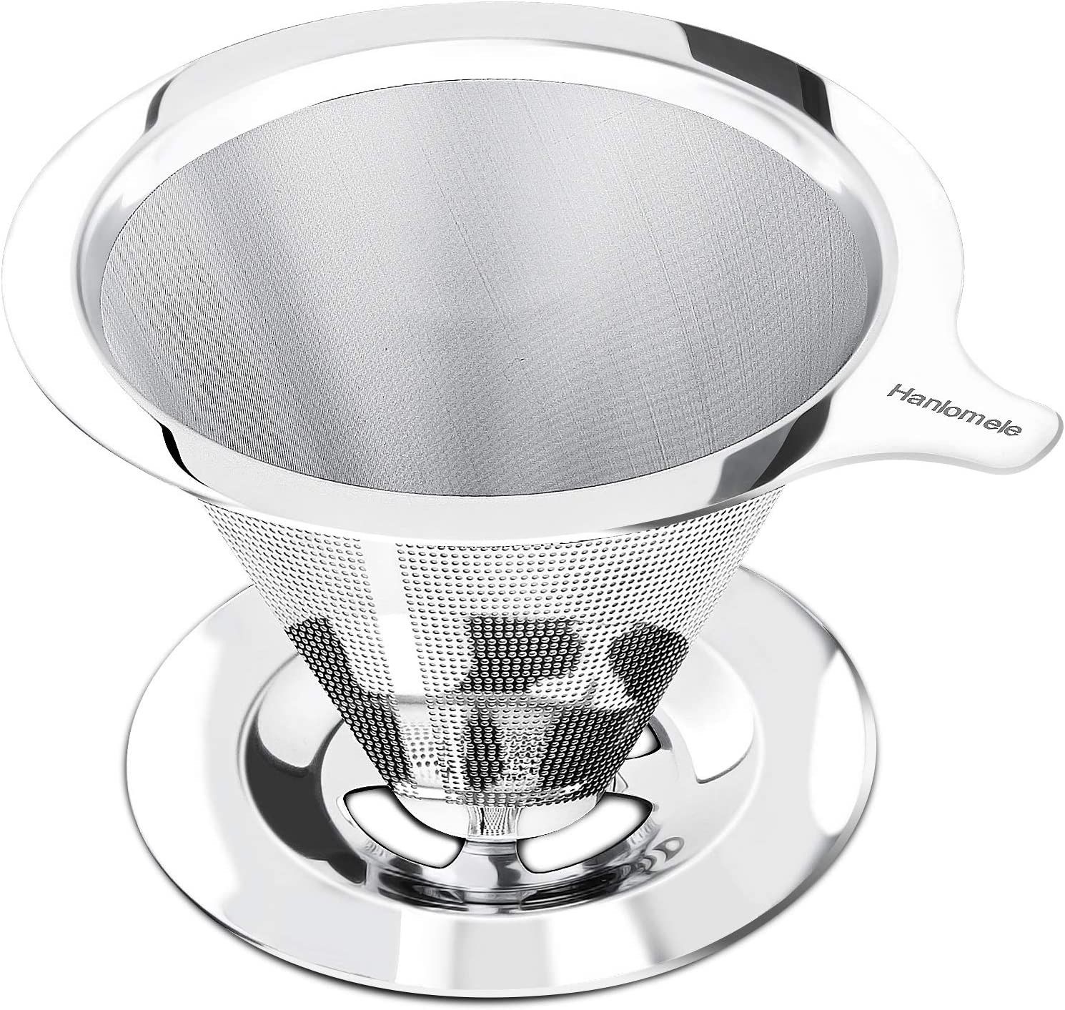 Hanlomele Pour Over Coffee Filter Pour Over Coffee Maker for Single Cup Brew Paperless Reusable Coffee Filter Double Mesh Design of Stainless Steel Cone Filter for Perfect Extraction.