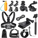 Neewer 25-in-1 Action Camera Accessory Kit Compatible with GoPro Hero 8 Max 7 6 5 4 Black GoPro 2018 Session Fusion Silver White Insta360 DJI AKASO APEMAN Campark SJCAM Action Camera etc