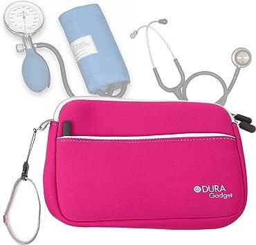 DURAGADGET Estuche De Neopreno Rosa para Guardar Sus Accesorios Médicos (Estetoscopio/Tensiómetro) | con Bolsillo Exterior para Guardar Más Objetos: Amazon.es: Electrónica