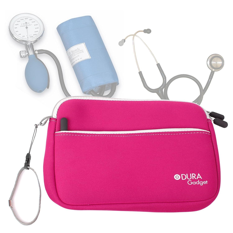 DURAGADGET Estuche De Neopreno Rosa para Guardar Sus Accesorios Médicos (Estetoscopio/Tensiómetro) | con Bolsillo Exterior para Guardar Más Objetos
