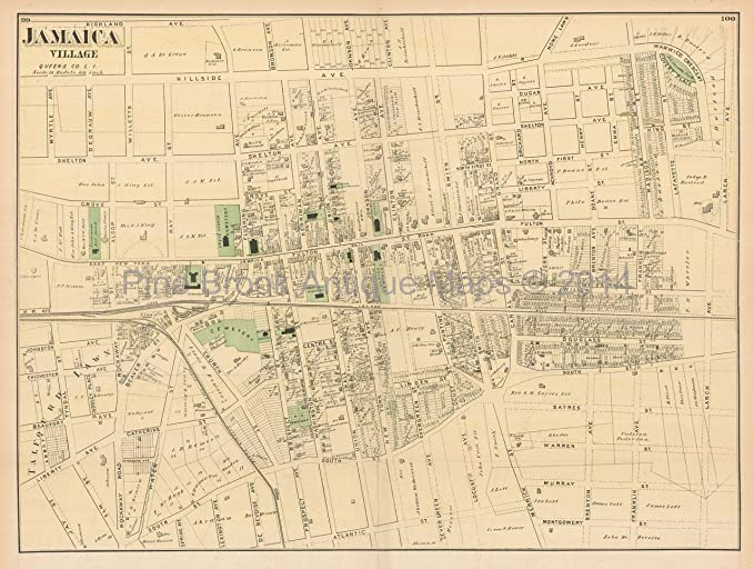 Map Of New York Jamaica.Jamaica Village New York Antique Map Beers 1873 Original Nyc Decor