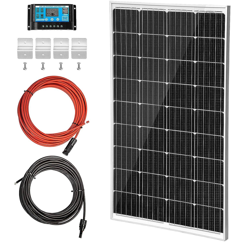 VEVOR Panel Solar 150 W Kit de Panel Solar 12 V Panel Solar Monocristalino 8,33 A Kit Placa Solar con Controlador de Carga Células de Panel Solar Monocristalino Cable 10 m para Caravana Barco Camping