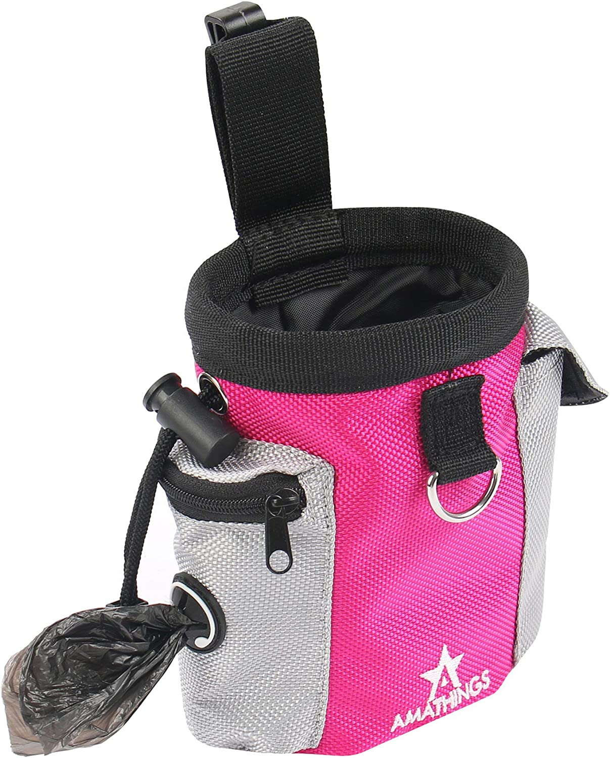Treats for Travel or Outdoor Use Kibble with Detachable Waistband Easily Carries Pet Toys BESLIME Dog Treat Bag Pouch Dog Training Bag