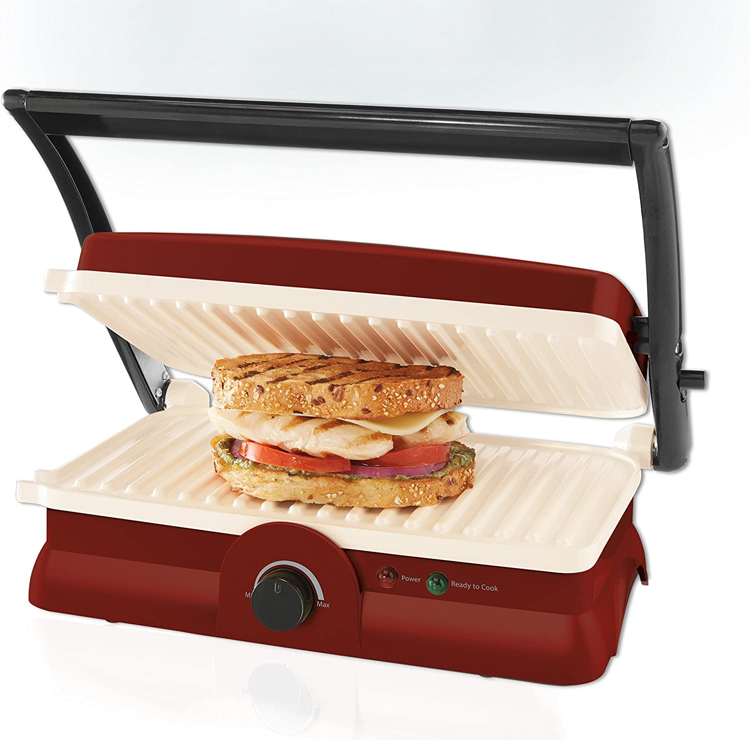 Oster DuraCeramic Panini Maker and Grill, Candy Apple Red