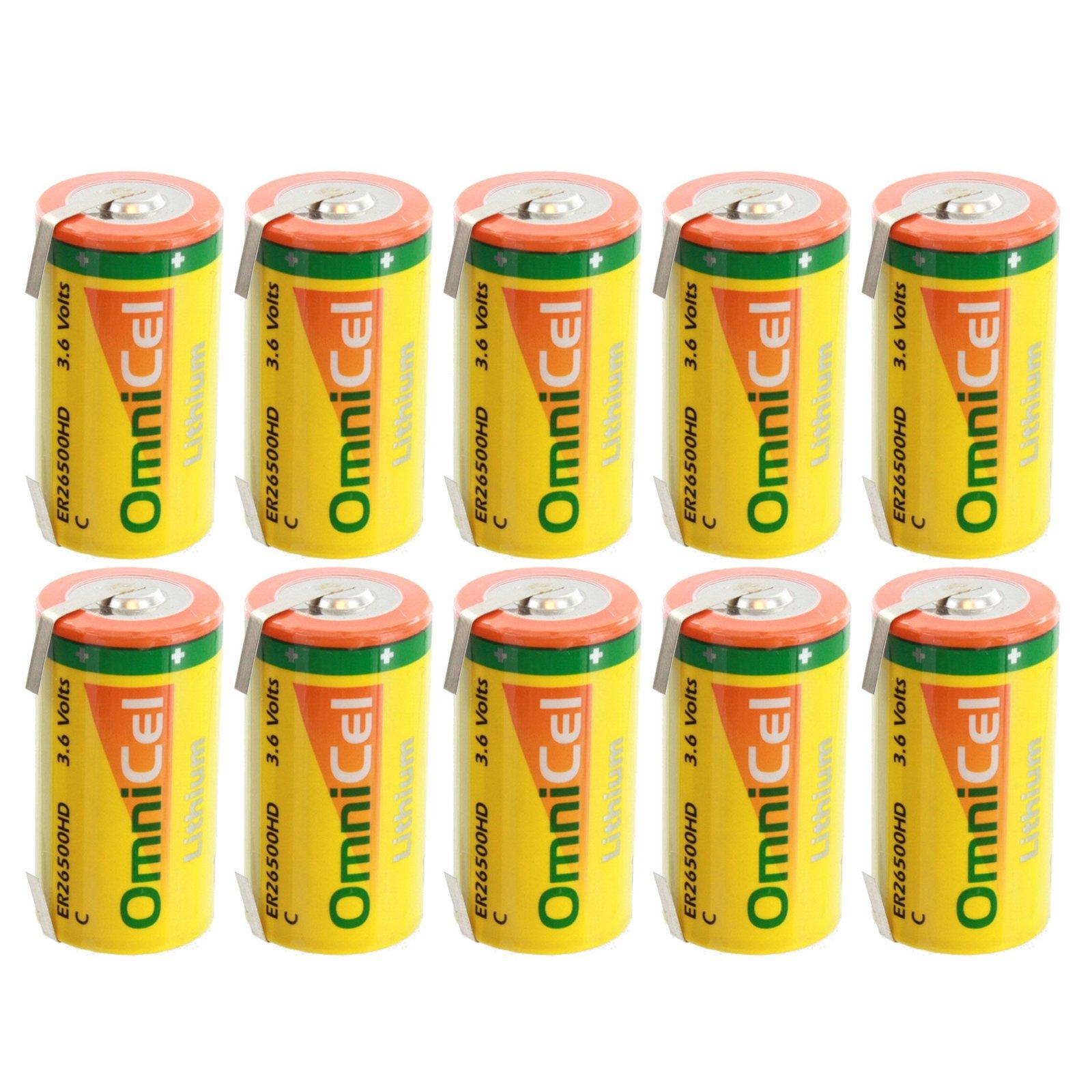 10x OmniCel ER26500HD 3.6V 6.5Ah Sz C Lithium Battery Tabs RFID Beacons AMR