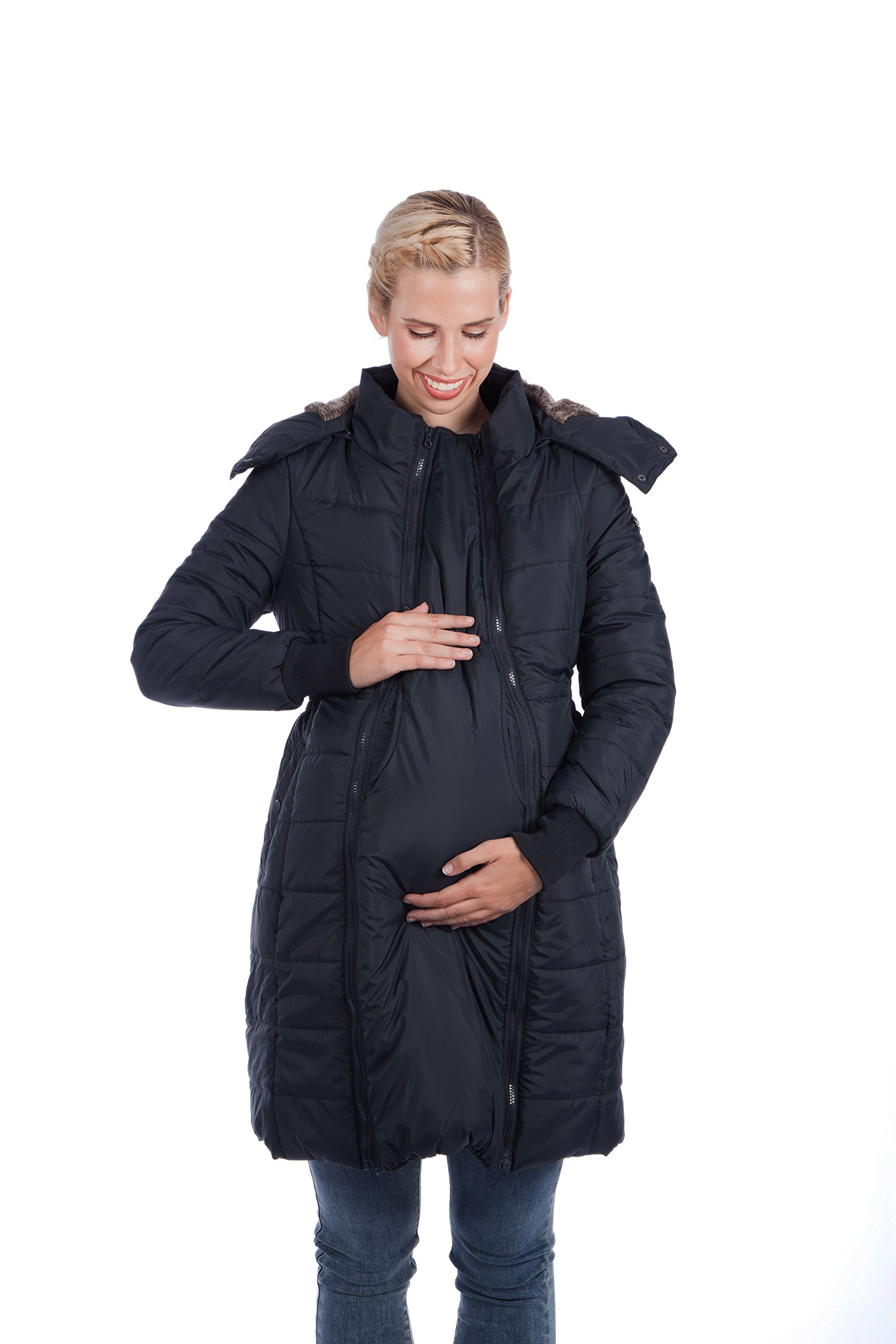Modern Eternity Womens Long Quilted Maternity X-Large Black