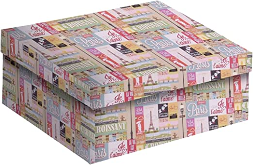 Vacchetti S.p.A - Caja de cartón Decorada de París, 33 x 25 x 12 cm: Vacchetti S.p.A: Amazon.es: Hogar