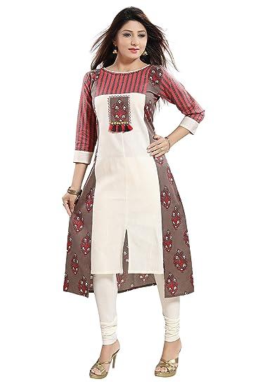 95a7e71fd2 Plus Size Long Orange & Grey Anarkali Cotton Front Cut Kurti: Amazon ...