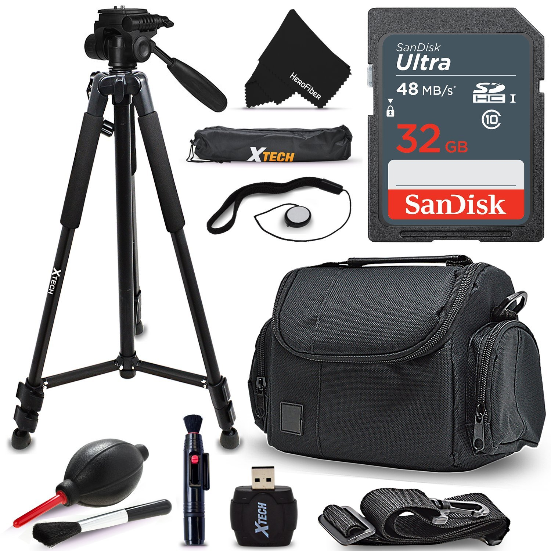 Xtech 32GB Memory Card Kit + Premium Camera Case + Pro Series 72' inch Tripod f/ Canon Powershot G5 X, G9 X, G3 X, SX410 IS, SX530 HS, SX60 HS, G7 X, D30, SX520 HS (SanDisk 32GB Accessories Kit) by HeroFiber