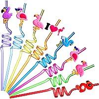 24 Pieces Flamingo Straws Reusable Luau Hawaiian Pool Straws Long Plastic Decorative Drinking Straws for Birthday Party…