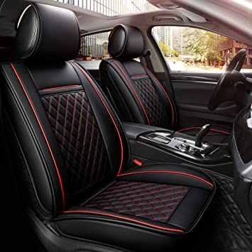 BLACK /& RED Trim Car Seat Covers Full Set Toyota Land Cruiser /& Amazon
