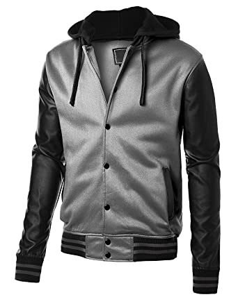 Mens Slim fit Baseball Fleece Jacket with High Quality PU Leather