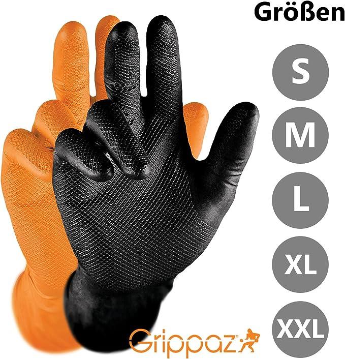 Polyacrylonitrile Gants sixgrip Orange 50x jetables atelier Caoutchouc Gant Taille M-XL