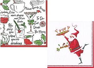 Funny Christmas Cocktail Beverage Napkins: Bundle Includes 40 Beverage Napkins in 2 Different Spirited Holiday Designs