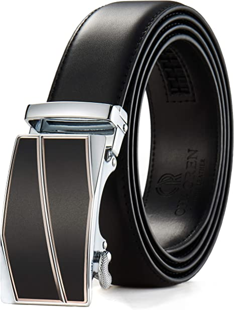 1 3//8 Trim to Exact Fit Mens Leather Ratchet Belt Dress with Automatic Slide Buckle Adjustable