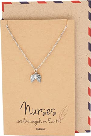 Doctors Quan Jewelry Nurse Necklace Handcrafted Angel-Wings Pendant Presents for Nurses Pre-Med Students Healthcare Workers RN Friendship Necklace Thank you Appreciation Graduation Gift Ideas
