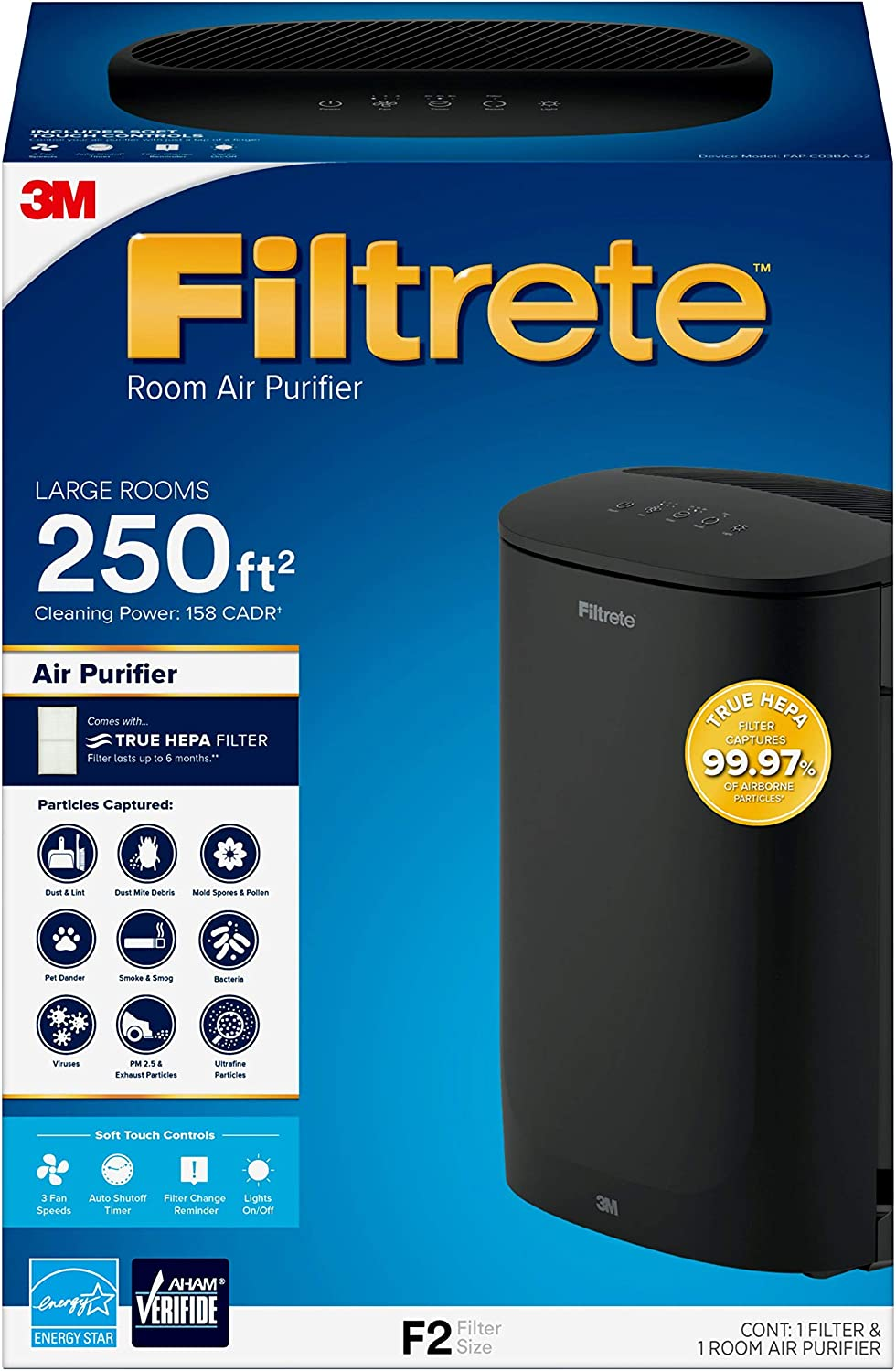 Filtrete Large Room Air Purifier, Black