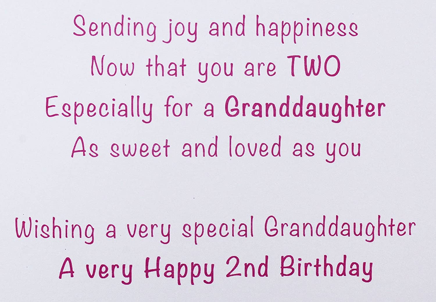 Happy 2nd Birthday Girls Greeting Cards Pink Granddaughter Baby Luxury Age Kids Amazoncouk Office Products