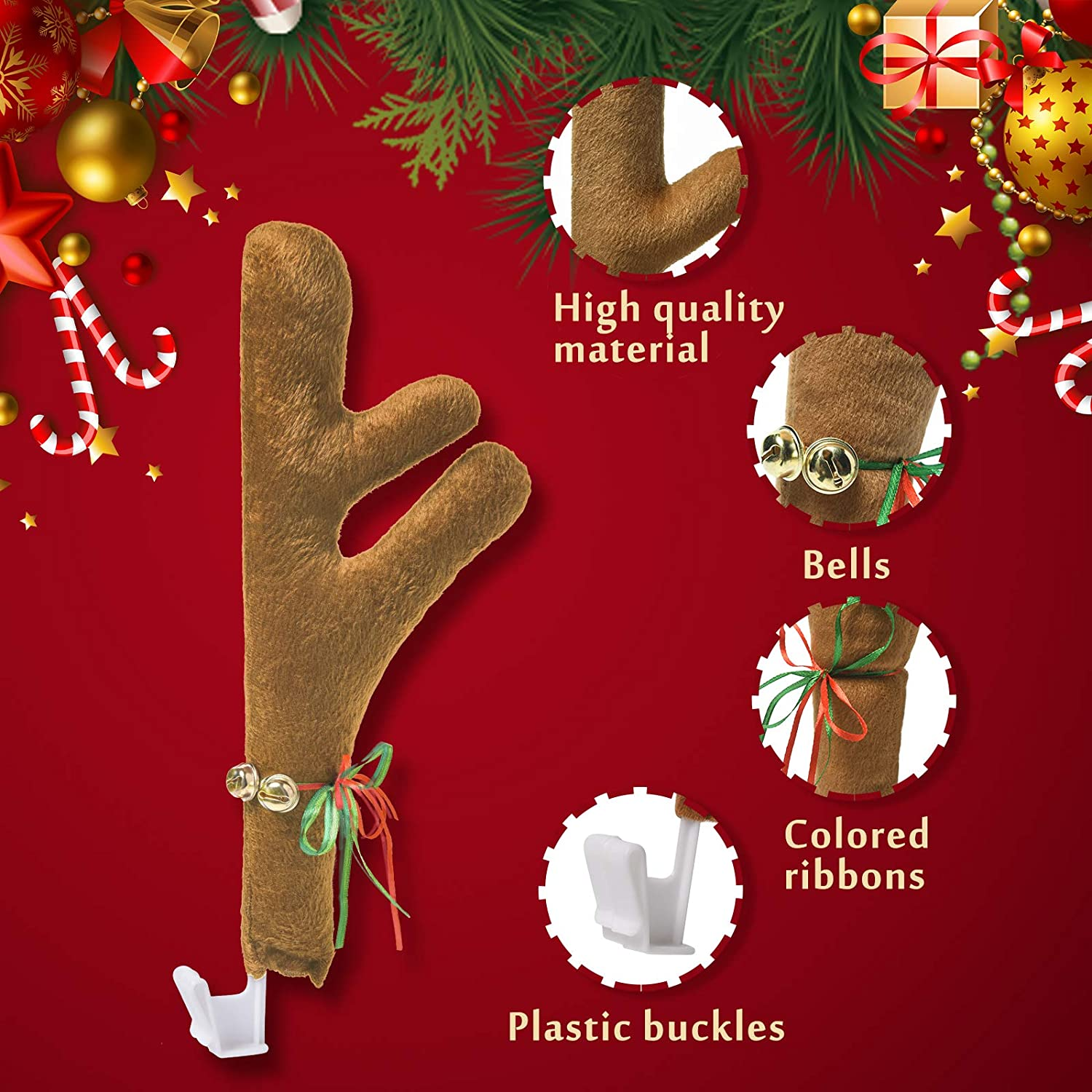 Auto Accessories Decoration Kit for Car Windows and Front Grille Reindeer Jingle Bell Christmas Costume Orange Xmas Gift Set Joyjoz Christmas Car Reindeer Antler Decoration Kit with Nose
