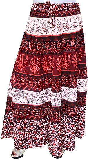 MapleClothing Mujeres Impresos Algodón Falda Larga India Ropa ...