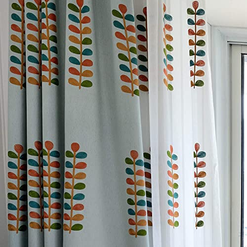 VOGOL Colorful Leaves Embroidered Curtains