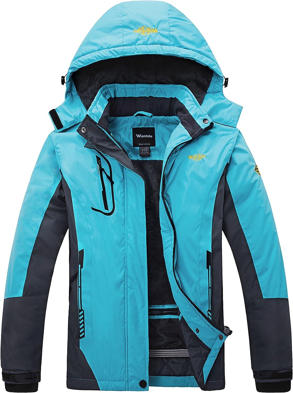 Wantdo Women's Winter Waterproof Ski Jacket Warm Detachable Hood Coat Windproof