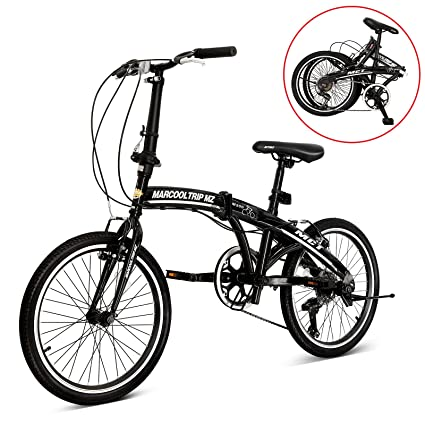 "MarCoolTrIp MZ 20"" Folding Bike Shimano Bicycle 6 Speed Bike With Phone Holder (Black"