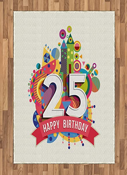 Ambesonne 25th Birthday Area Rug Funny Celebration Greeting Card Inspired With Number Text Label Art