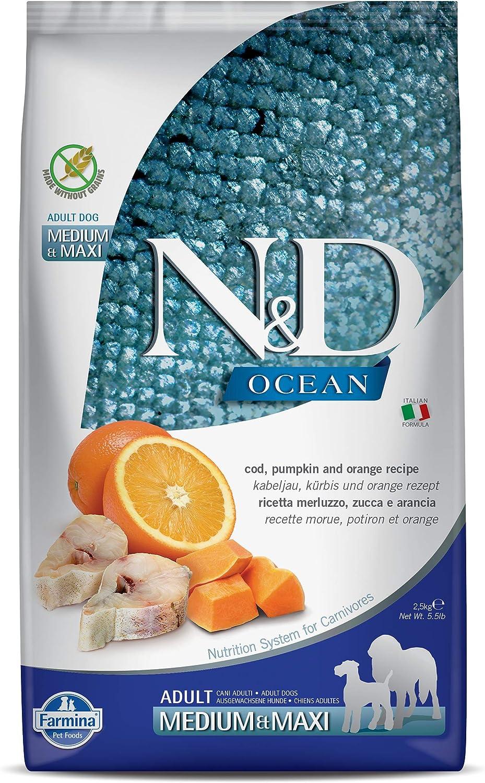 Farmina N&D Ocean Cod, Pumpkin and Orange Medium & Maxi Dry Dog Food 5.5 Pounds