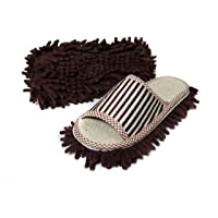 Friendly House Women's Microfiber Floor Cleaning Mop Slippers with Stripes