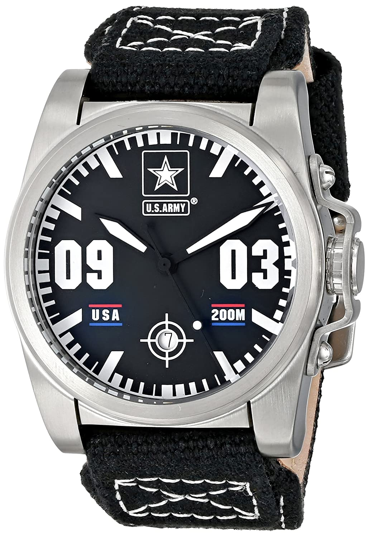 U.S. ARMY Wrist Armor 37WA020001A Herren Nylon Leder Armband Military Uhr schwarz