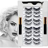 Magnetic eyelashes, Magnetic Eyeliner and Lashes Kit, Reusable False Lashes 10 Pairs with 2 Liquid Eyeliners and Tweezers