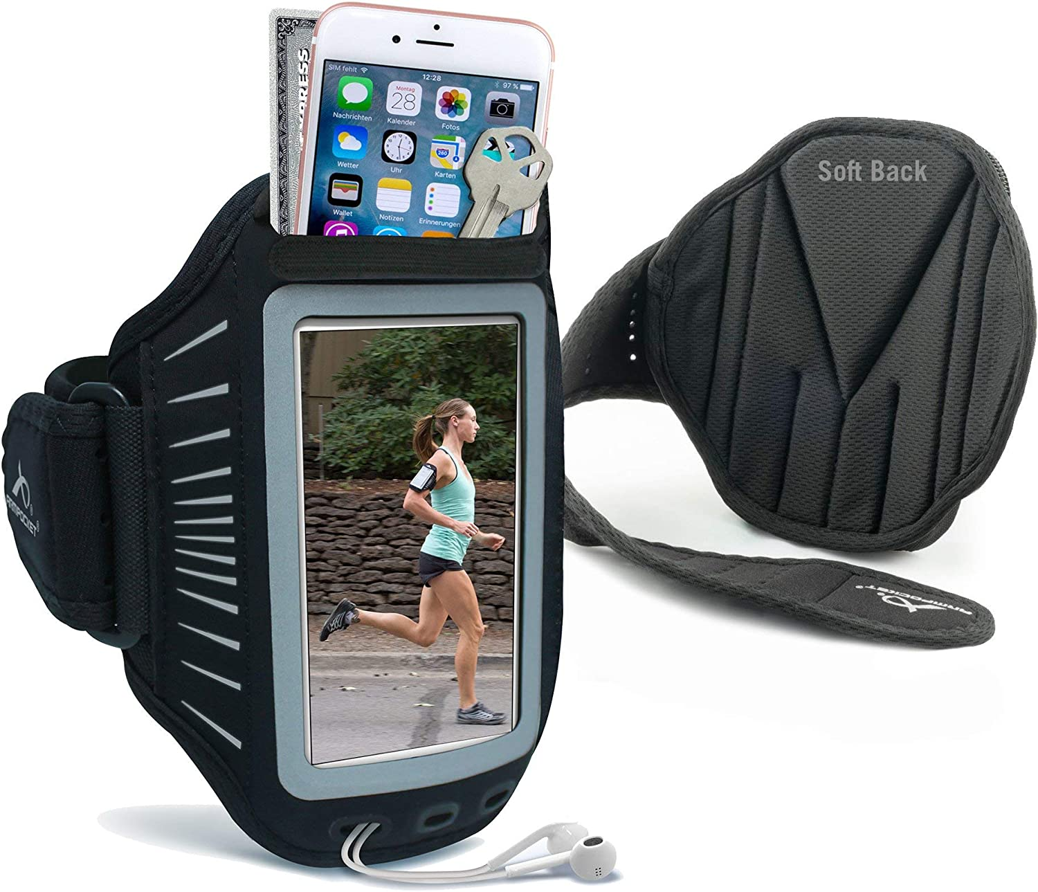 """Armpocket Racer Ultra Thin Phone Armband, Fits iPhone 8/7/6, Google Pixel, or Phones up to 5.5"""""""