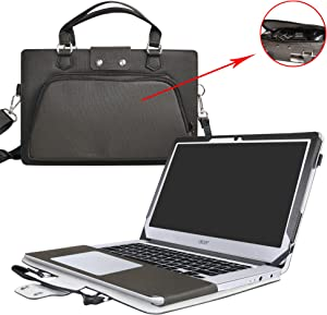 "Acer Chromebook 14 Case,2 in 1 Accurately Designed Protective PU Leather Cover + Portable Carrying Bag for 14"" Acer Chromebook 14 CB3-431 Series Laptop(Not fit CP5-471 Series),Black"