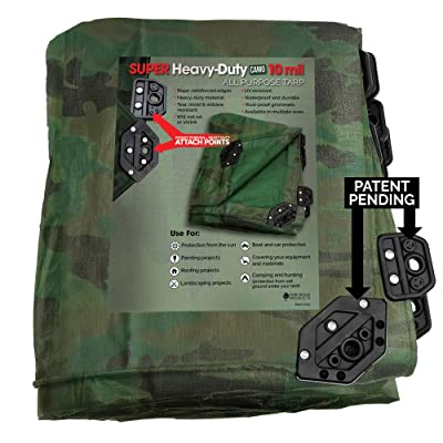 Park Ridge Products SCTRP1012CAMO Park Ridge x 12 ft Heavy-Duty Reversible Poly 10 mil Tarp Super Corner, 10X12, Camo/Green